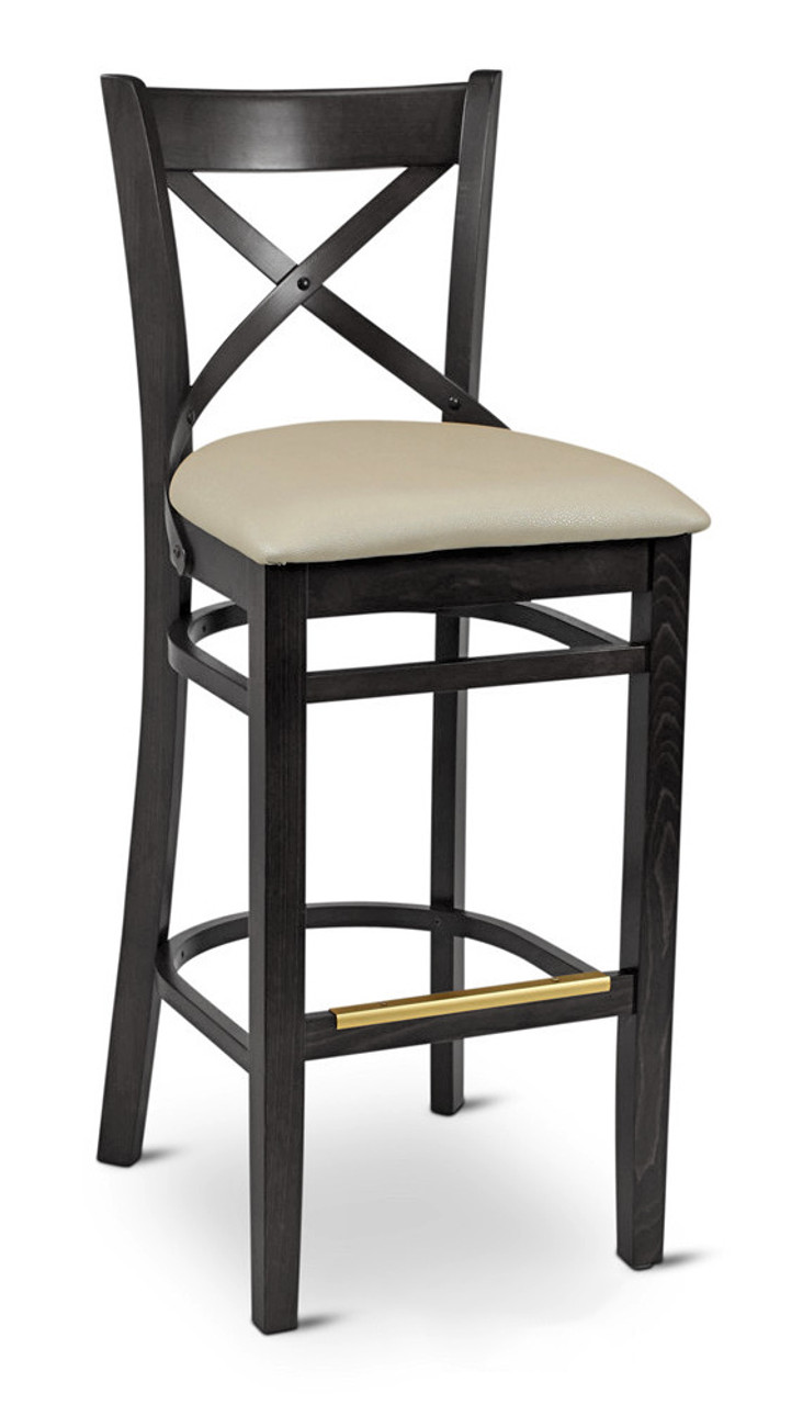 European Beechwood Frame   Cross Back Design   Commercial Bar Stool    Available In Black