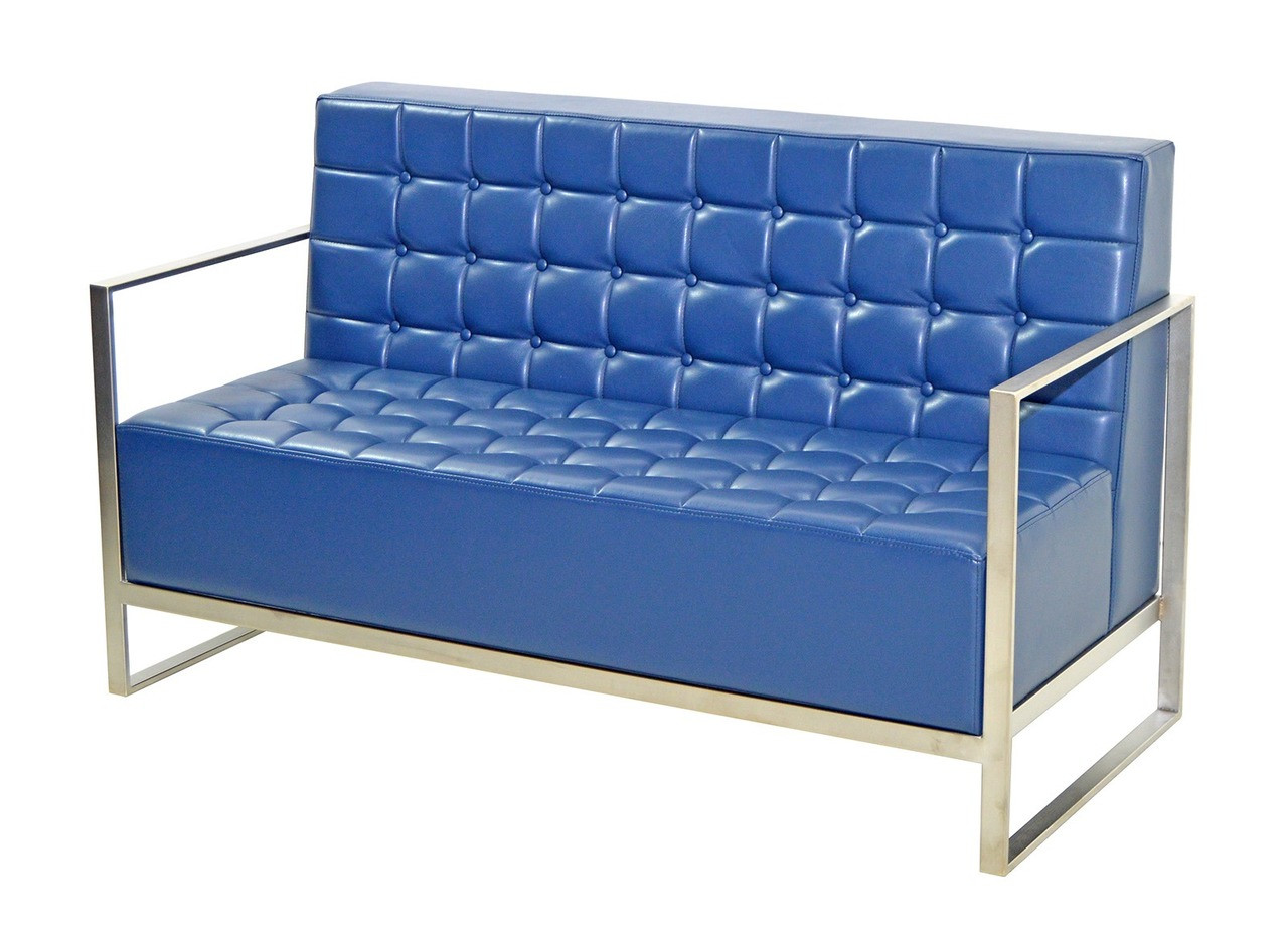 Button Tufted Two Seater Sofa   Fully Welded Stainless Steel Frame   Made In