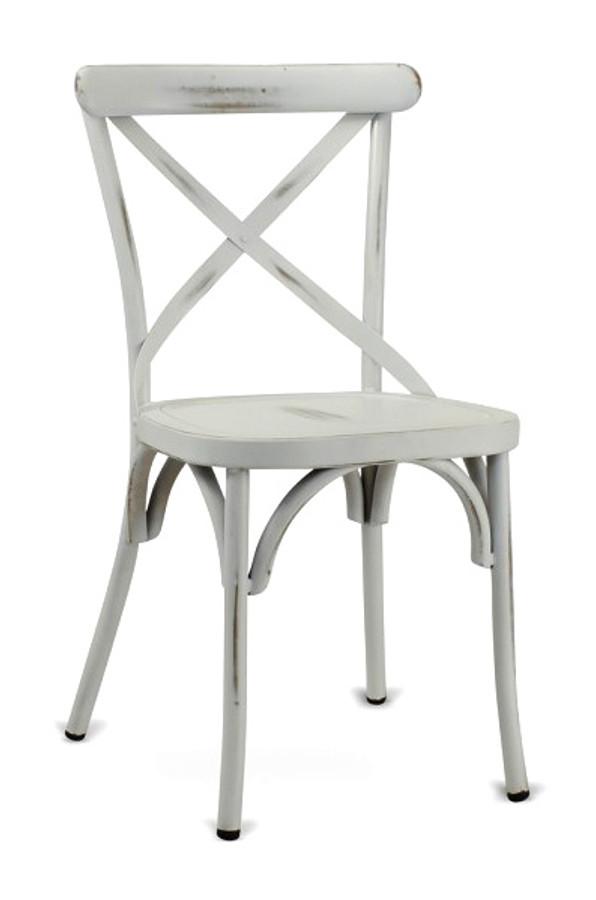 Metal Frame   Cross Back Design   Commercial Restaurant Chair   Available  In Vintage White
