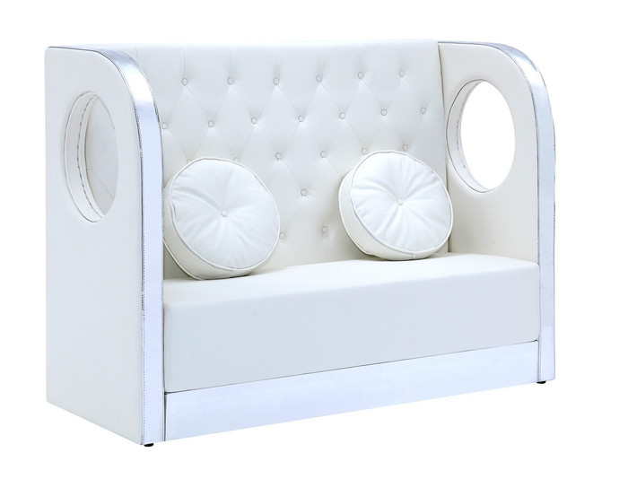 ... TIARA Button Tufted Tall Banquette Sofa With Custom Kick Panel