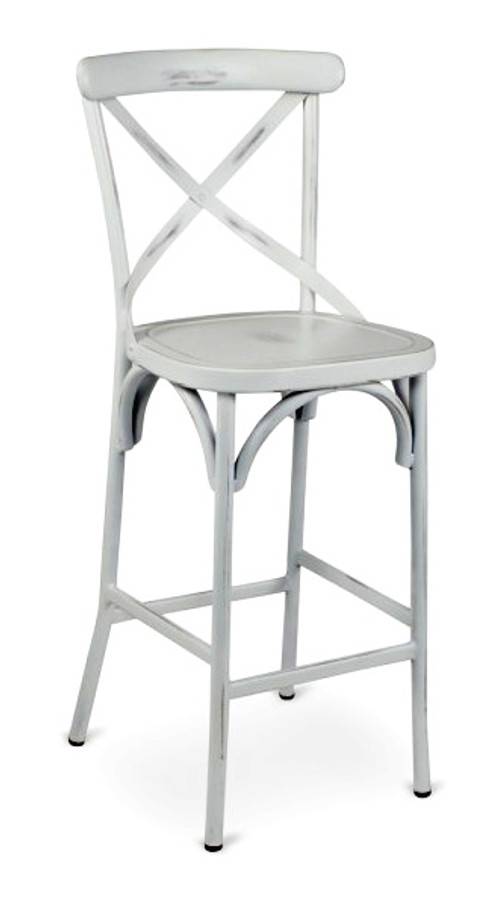 Metal Frame   Cross Back Design   Commercial Bar Stool   Available In  Vintage White
