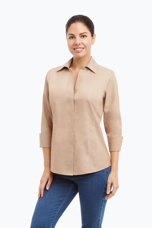 Taylor Petite Non-Iron Pinpoint 3/4 Sleeve Shirt On Sale