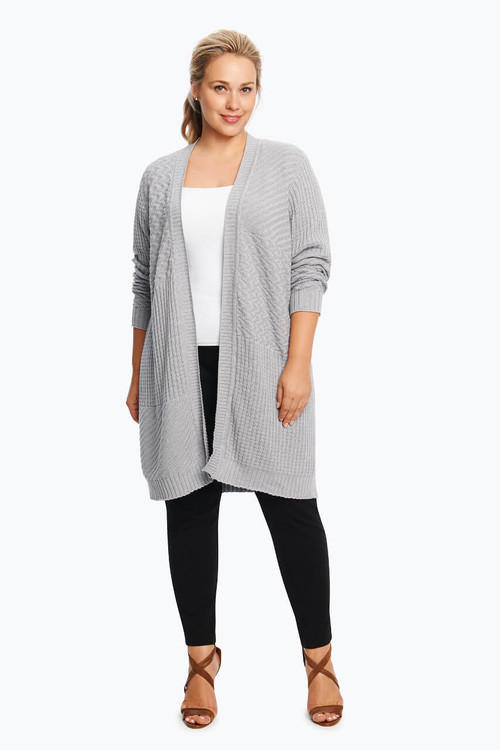 Plus Mix Stitch Duster Cardigan