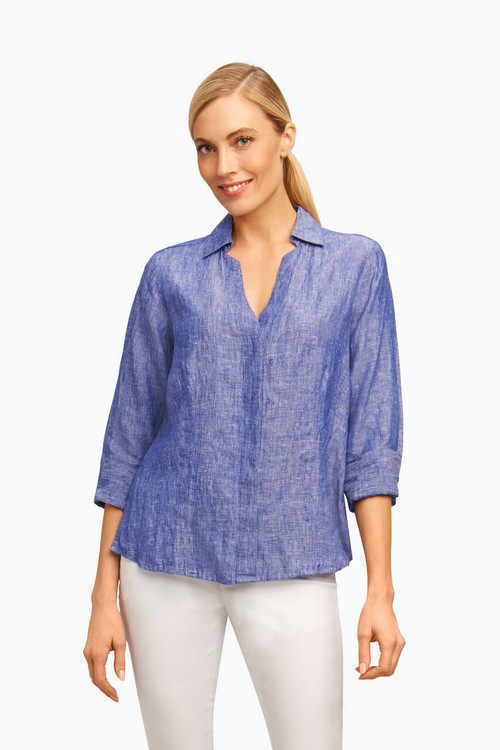 Taylor Plus Fitted Shirt in Chambray Linen