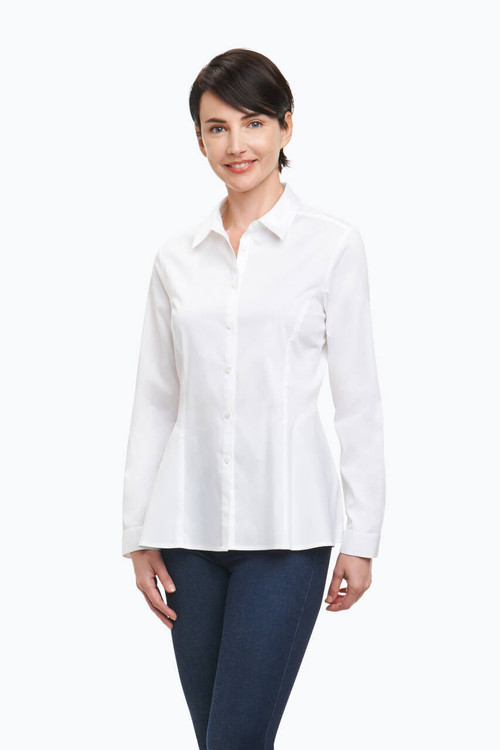 Portia Blouse in Solid Stretch