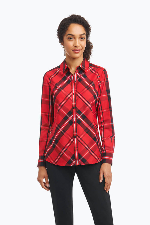 Tina Petite Wrinkle Free Shirt in Holiday Tartan