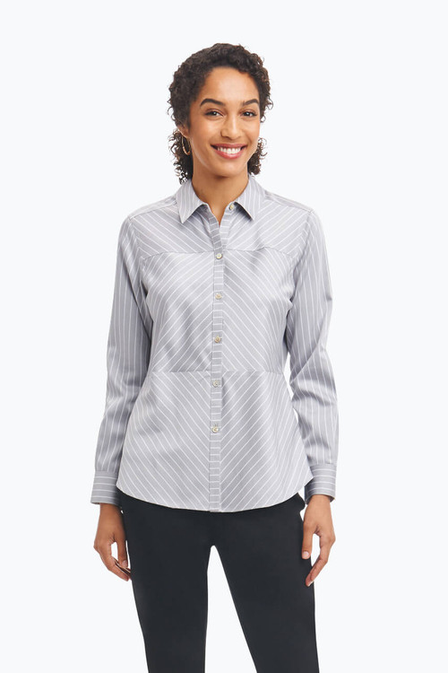 Monica Petite Non-Iron Shirt in Stripe Sateen