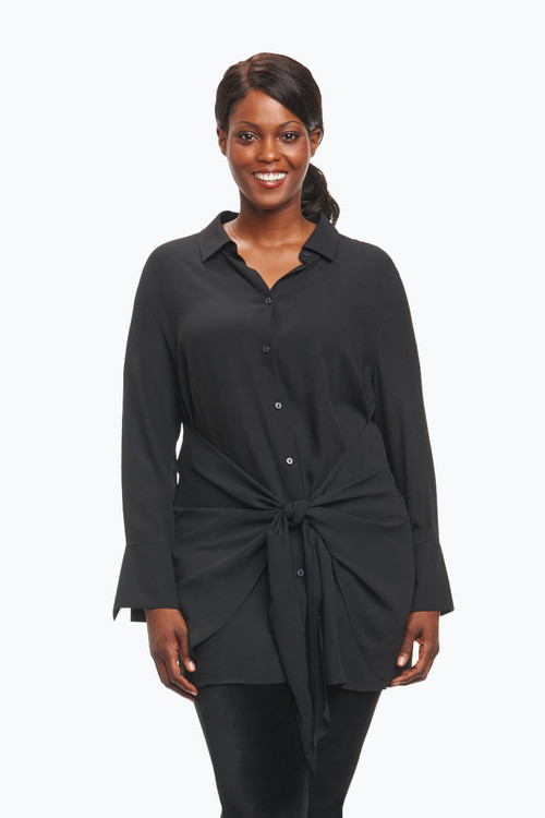 Serena Plus Tunic in Solid Poly Crepe