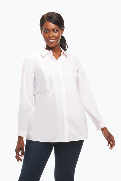 Charlotte Plus Non-Iron Shirt In Solid Pinpoint