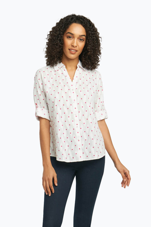 Tereese Blouse in Clipped Dobby Dot