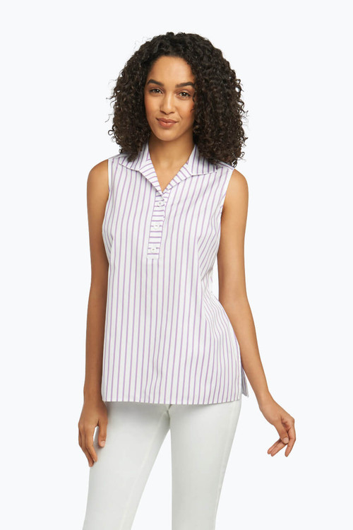 Dani Non-Iron Sleeveless Shirt in Summer Stripe