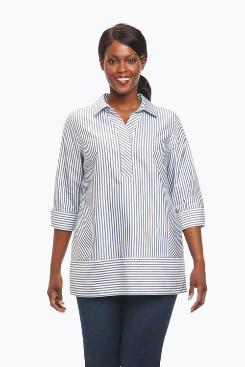 Daria Plus Non-Iron Tunic in Herringbone Stripe