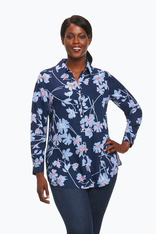 Ivy Plus Tunic in Coastal Floral