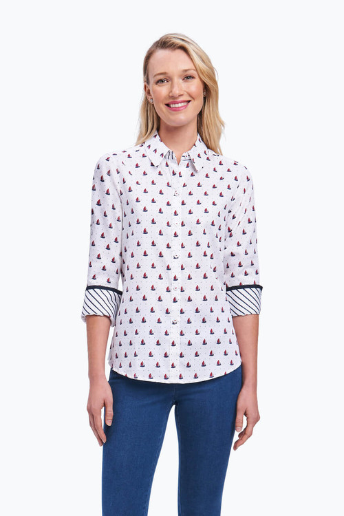 Ava Petite Wrinkle Free Shirt in Sailboat Combo
