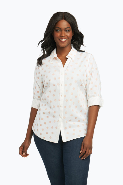 Mary Plus Non-Iron Shirt in Allover Seashell
