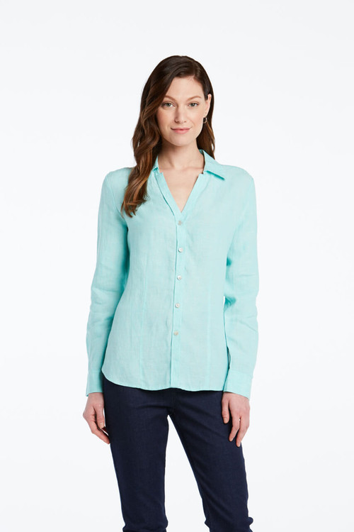 Shay Petite Shirt in Chambray Linen