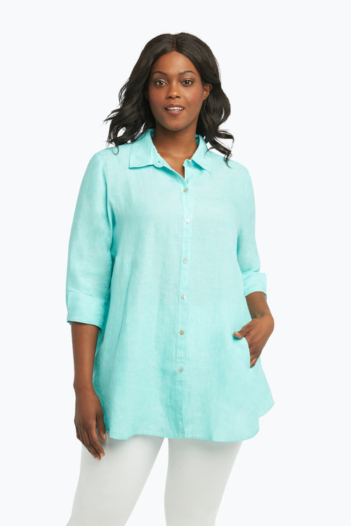 Cici Plus Tunic in Chambray Linen