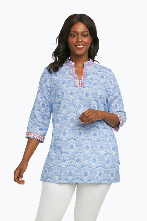 Angelica Plus Wrinkle Free Tunic in Medallion