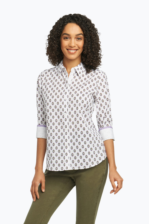 Ava Petite Wrinkle Free Shirt in Combo Dot