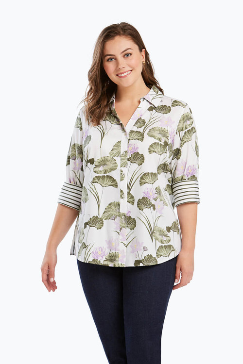 Mary Plus Wrinkle Free Shirt in Waterlily Combo