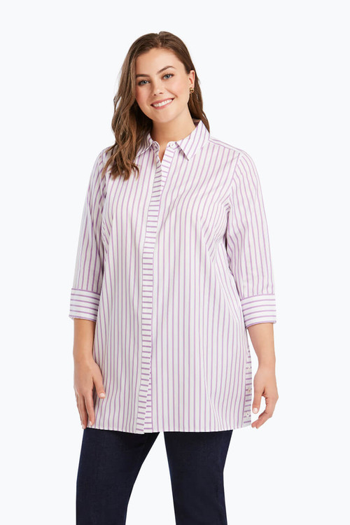 Wanda Plus Non-Iron Tunic in Summer Stripe