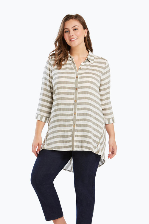 Casey Plus Tunic in Dobby Stripe