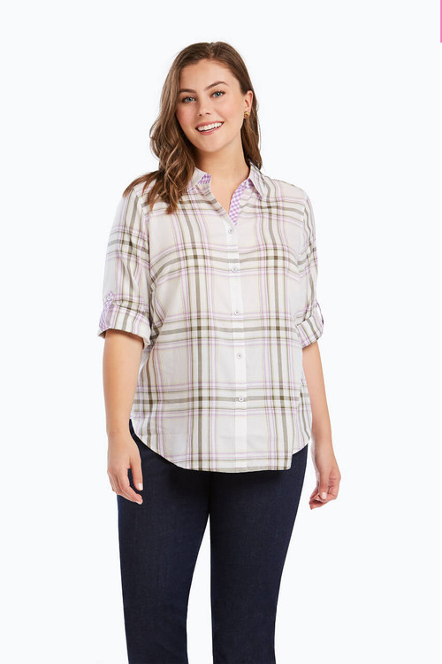 Tamara Plus Blouse in Herringbone Plaid