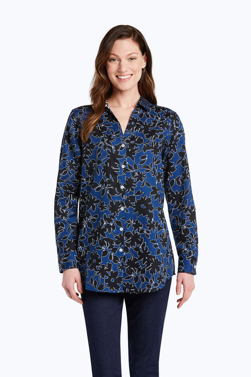 Ivy Wrinkle Free Shadow Floral Tunic