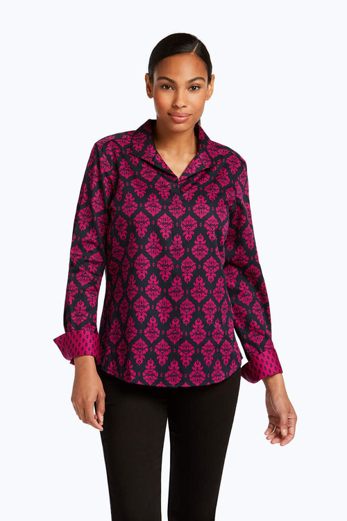 Annie Wrinkle Free Damask Combo Shirt