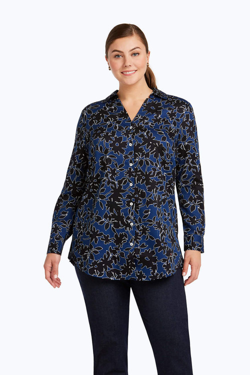 Ivy Plus Wrinkle Free Shadow Floral Tunic