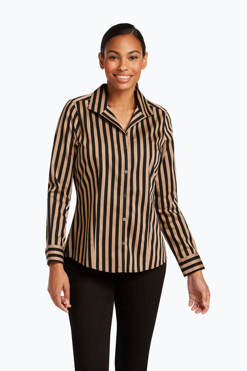 Annie Petite Non-Iron Sateen Stripe Shirt