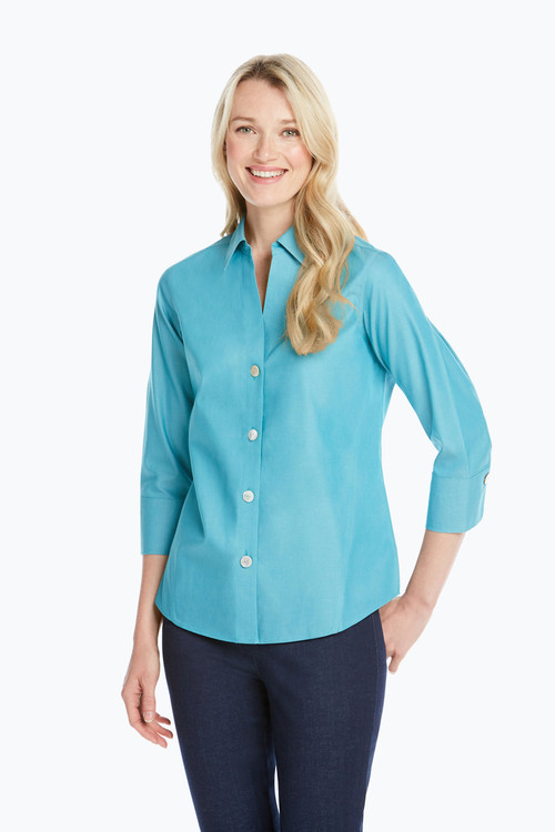 Paigely Petite Non-Iron Pinpoint 3/4 Sleeve Shirt