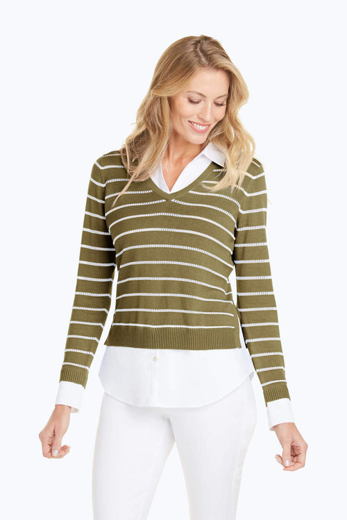 Dana Textured Stripe Combo Sweater