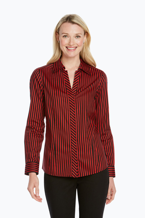 Taylor Petite Non-Iron Holiday Stripe Shirt