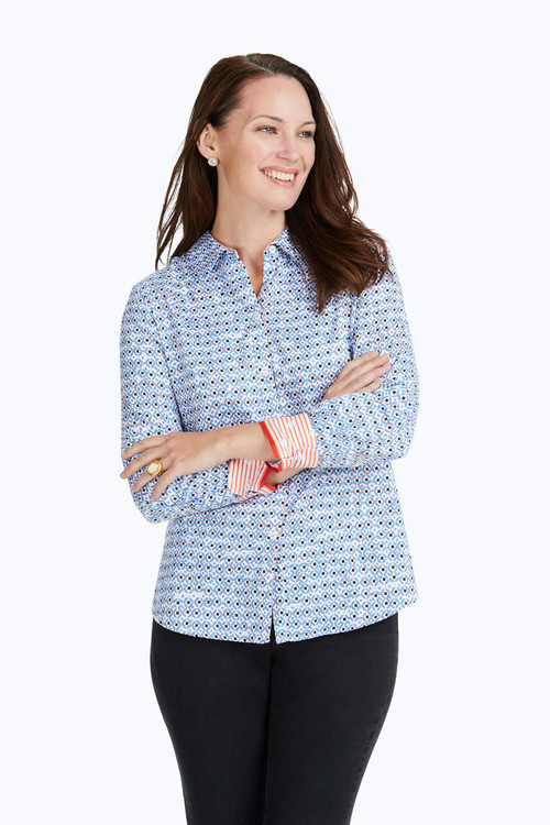 Ava Wrinkle-Free Diamond Status Print Shirt
