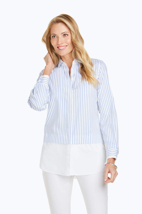 Giselle Stretch Non-Iron Stripe Combo Tunic