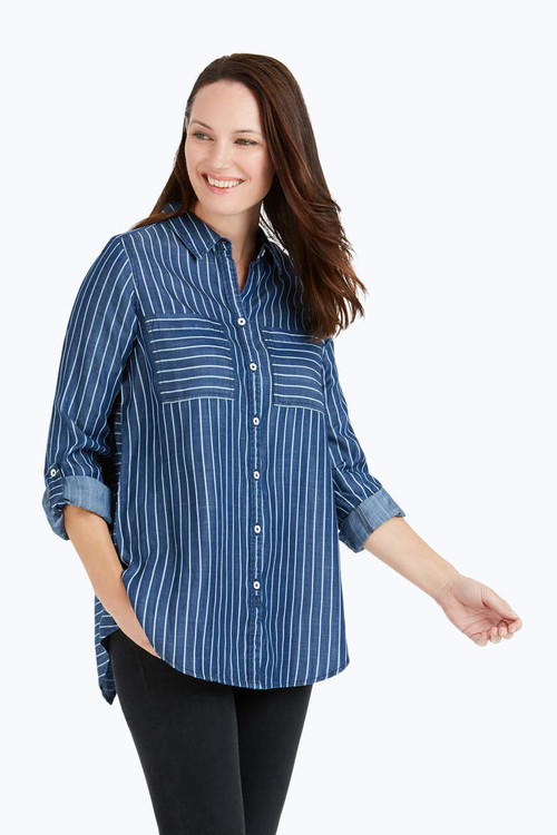 Zella Railroad Stripe Tencel® Shirt