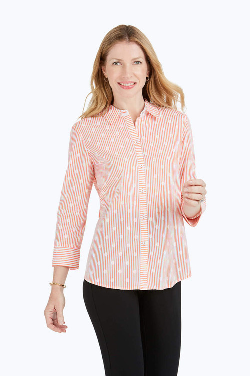 Ava Dot Over Stripe Print Shirt