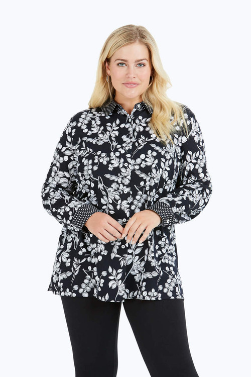 Libby Plus Wrinkle-Free Whimsy Floral Tunic