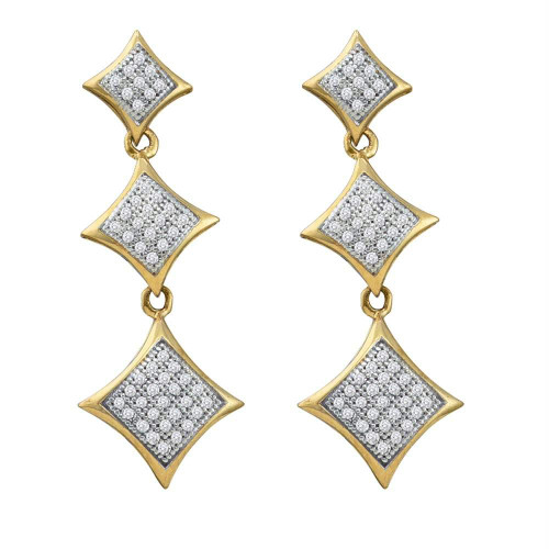 10kt Yellow Gold Womens Round Diamond Triple Square Kite Dangle Earrings 1/3 Cttw
