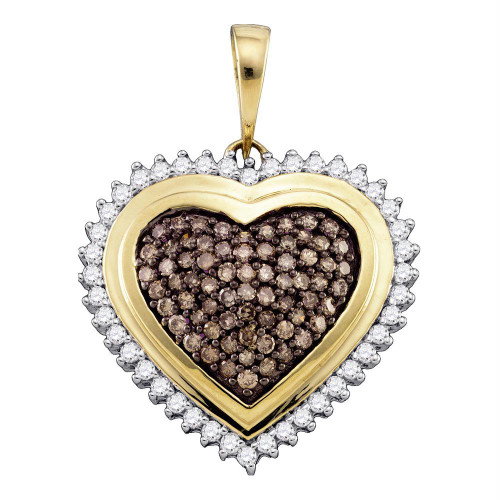 10kt Yellow Gold Womens Round Cognac-brown Color Enhanced Diamond Framed Heart Cluster Pendant 1.00 Cttw
