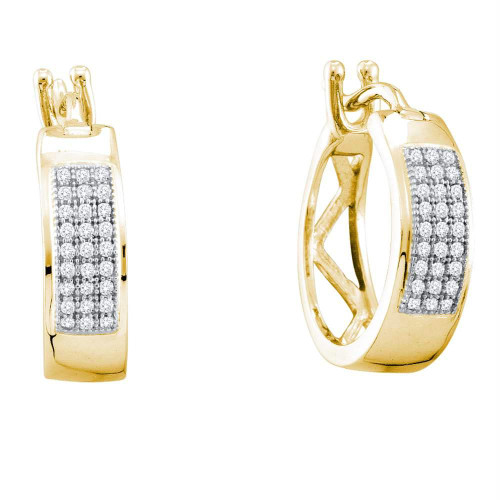 10kt Yellow Gold Womens Round Diamond Hoop Earrings 1/6 Cttw - 56358