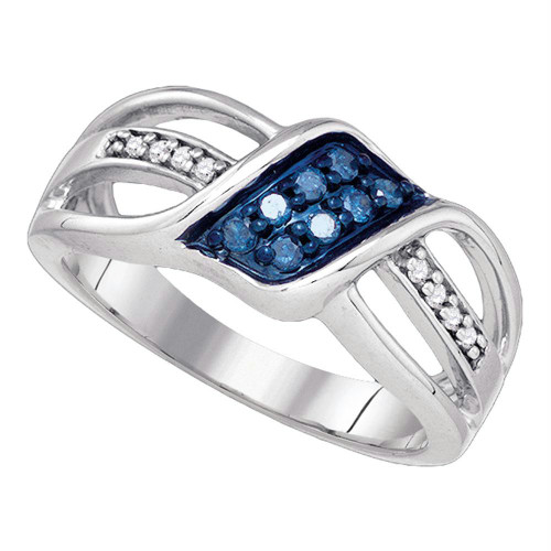 10k White Gold Womens Blue Color Enhanced Diamond Crossover Band Ring 1/5 Cttw