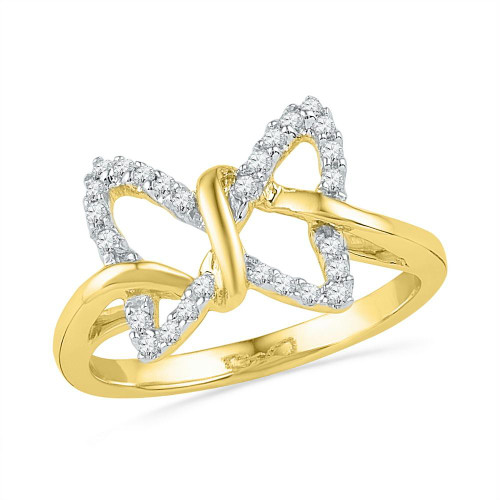 10k Yellow Gold Diamond Womens Butterfly Bug Daily-wear Right-hand Ring 1/6 Cttw