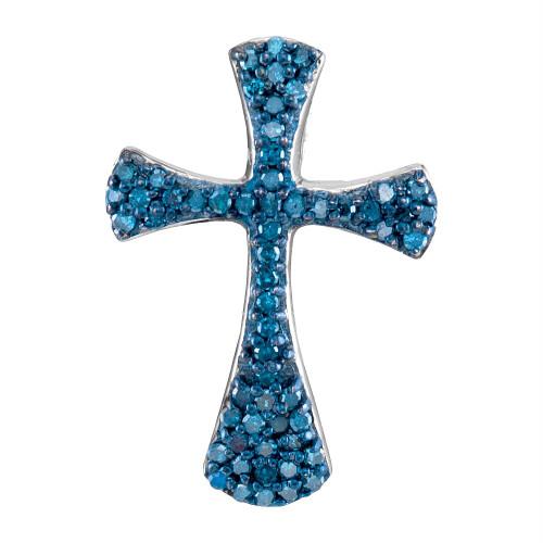 10kt White Gold Womens Round Blue Color Enhanced Diamond Flared Cross Pendant 1/3 Cttw