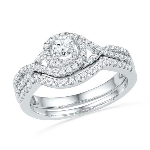 10k White Gold Round Diamond Womens Woven Bridal Wedding Engagement Ring Set 5/8 Cttw