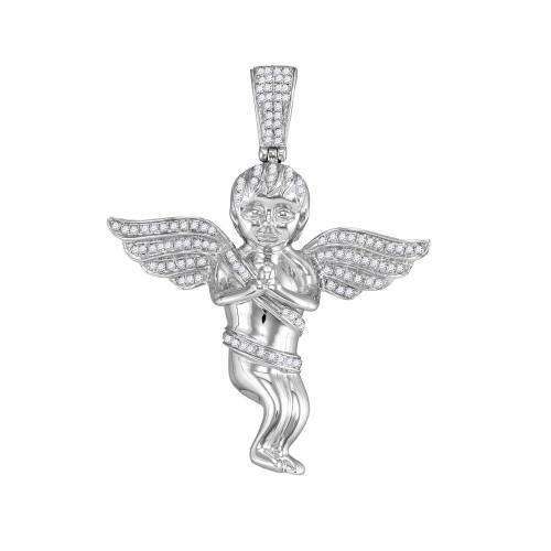 10kt White Gold Mens Round Diamond Praying Angel Cherub Charm Pendant 1/2 Cttw