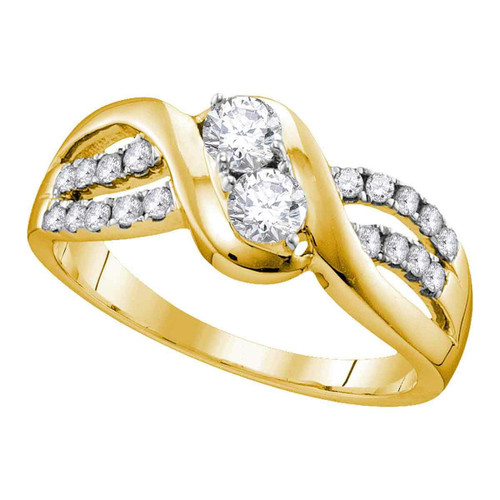 10kt Yellow Gold Womens Round Diamond 2-stone Bridal Wedding Engagement Ring 5/8 Cttw - 112158