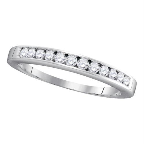 14kt White Gold Womens Round Channel-set Diamond Single Row Wedding Band 1/4 Cttw - 30459-10