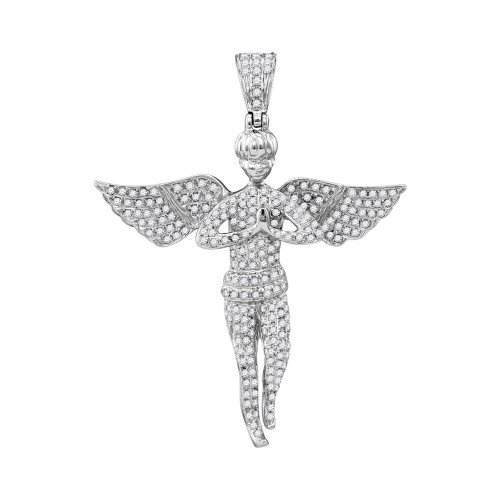 10kt White Gold Mens Round Diamond Angel Wings Religious Charm Pendant 1.00 Cttw